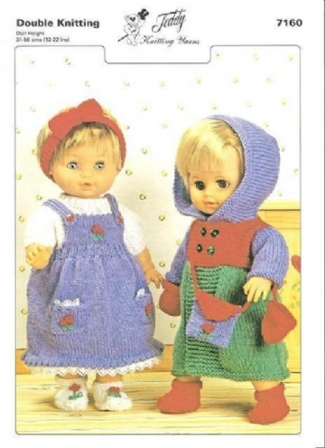 TEDDY KNITTING PATTERN 7160 - CLOTHES OUTFITS FOR DOLLS & PREMATURE BABIES